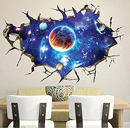 wall art stickers chans® 3d wall stickers,cracked wall effect planet world outer space vinyl NRRUUCF