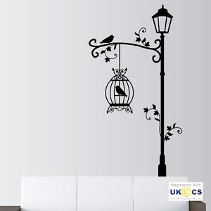 wall art stickers image is loading bird-birdcage-street-light-vintage-wall-art-stickers- VJCHJQH