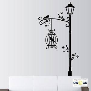 wall art stickers image is loading bird-birdcage-street-light-vintage-wall-art-stickers- VJCHJQH