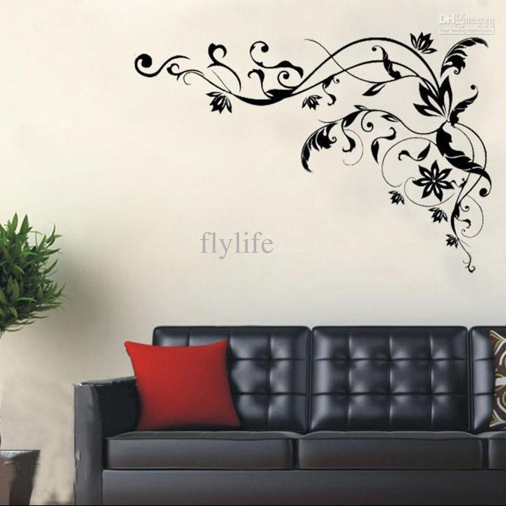 wall art stickers large black vine art wall decals, diy home wall decor stickers WSXOIPQ