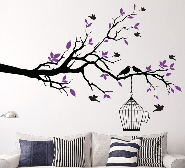 wall art stickers tree branch wall art sticker with bird cage removable vinyl wall CYCVEBZ