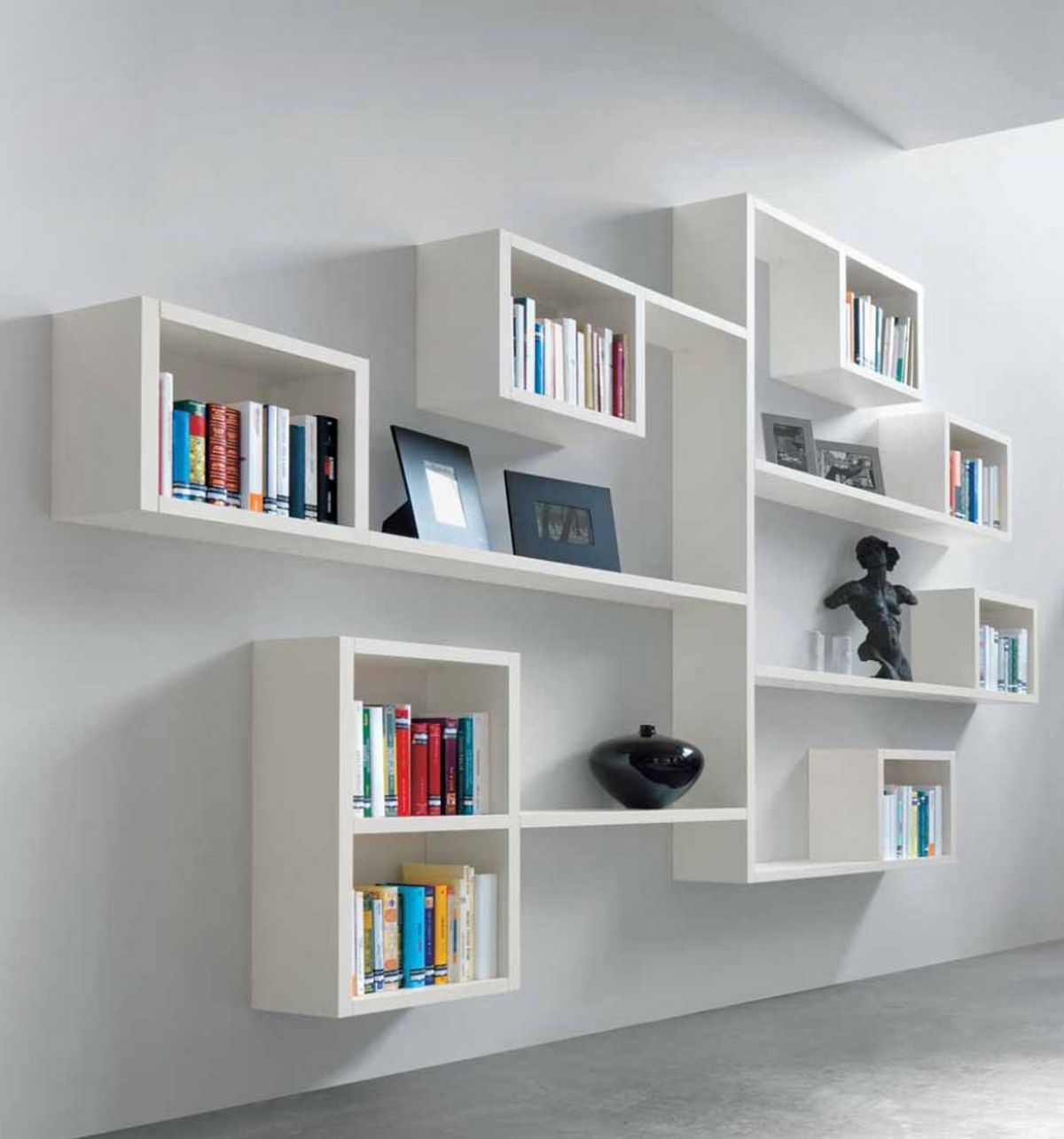 wall bookshelf art display 1st floor: creative alternative, combination shelving, and  shadow OXUJNOD