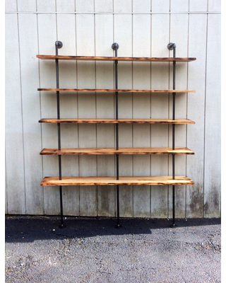 wall bookshelf the hemingway wall mount bookcase reclaimed wood bookshelf pipe wall PHOJGRS