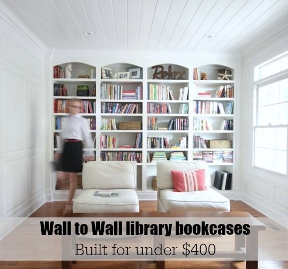 wall bookshelf wall to wall bookcases - plans from https://sawdustgirl.com. XUNMKHV