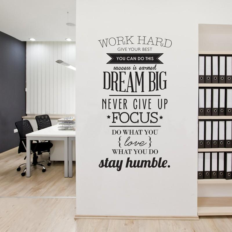 wall decals quotes work hard vinyl wall sticker letras decorativas office FTMRIVH