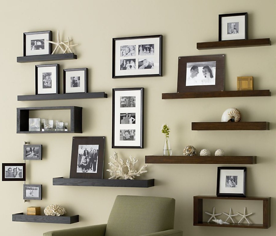 wall decoration ideas install wooden shelves and family framed photos as brilliant wall decor QNCNMNW
