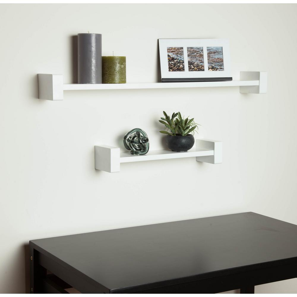 wall shelf honey-can-do 29.53 in. x 3.94 in. h-shape white OXQBVDP