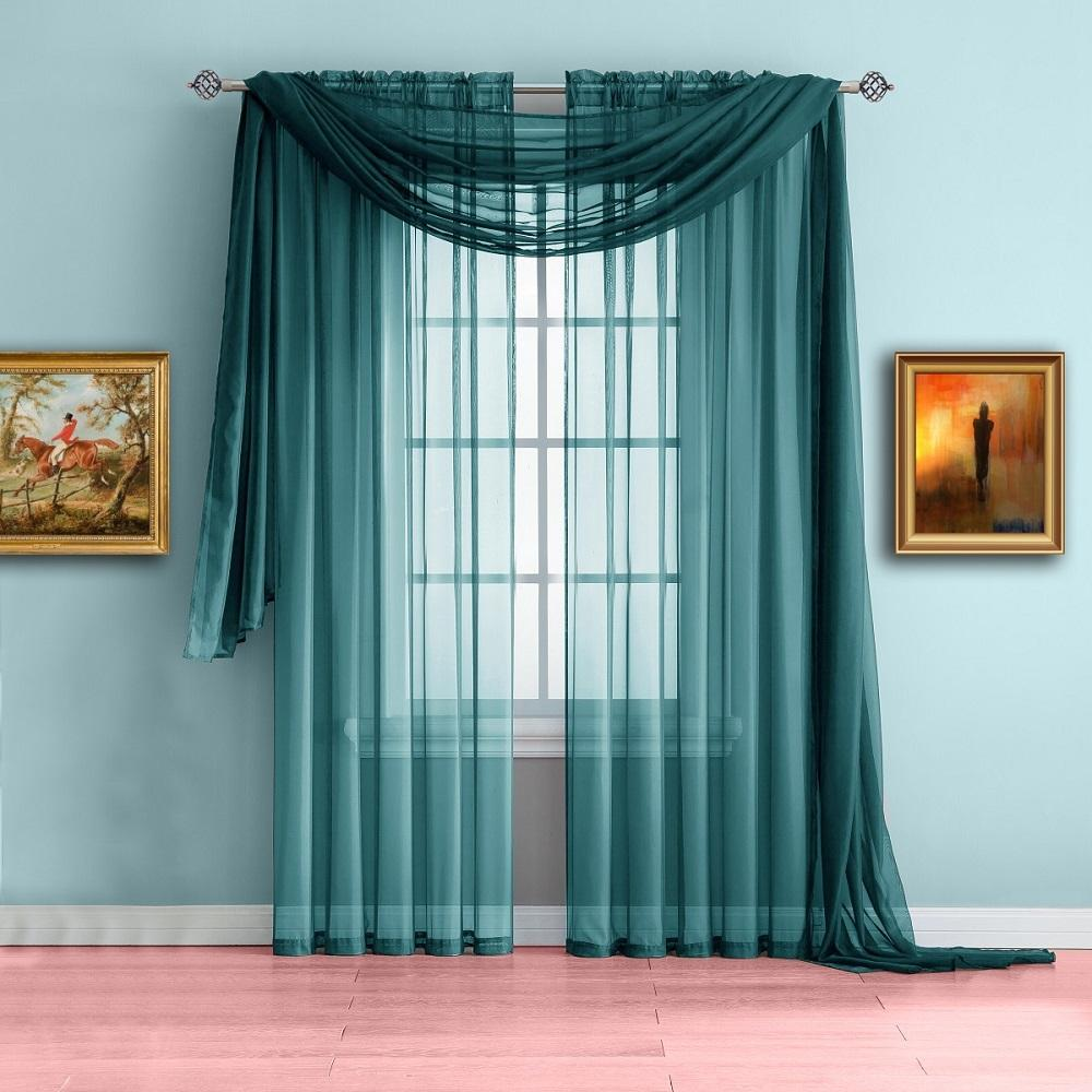 warm home designs blue teal window scarf valance, sheer teal curtains NJXCHIB