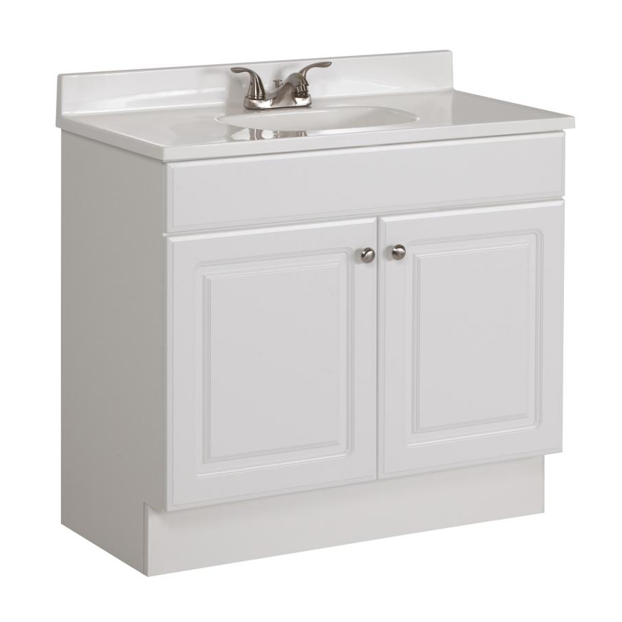 white bathroom vanity project source white vanity with white cultured marble top (common: 36-in DZPUKDN