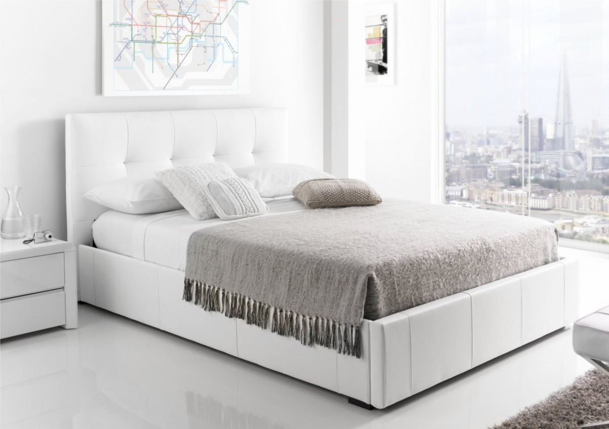 white beds kaydian hexham upholstered storage drawer bed - white leather ... YZIPICO