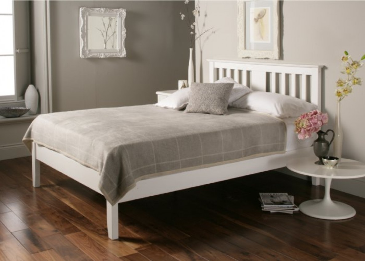 white beds malmo white wooden bed frame - double bed frame only ... MMFLWKI