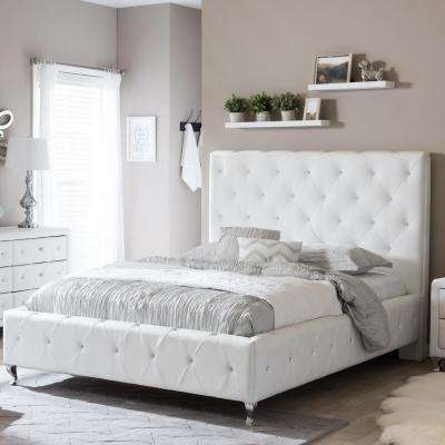 white beds stella transitional white faux leather upholstered queen size bed MAKSELJ