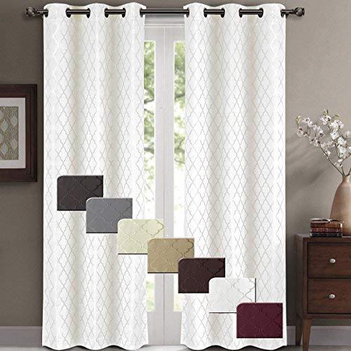 white blackout curtains willow jacquard white grommet blackout window curtain panels, pair / set QEIWBAL
