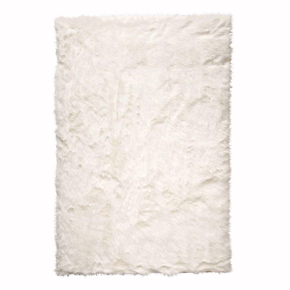 white rug home decorators collection faux sheepskin white 5 ft. x 8 ft. WUKLYMK