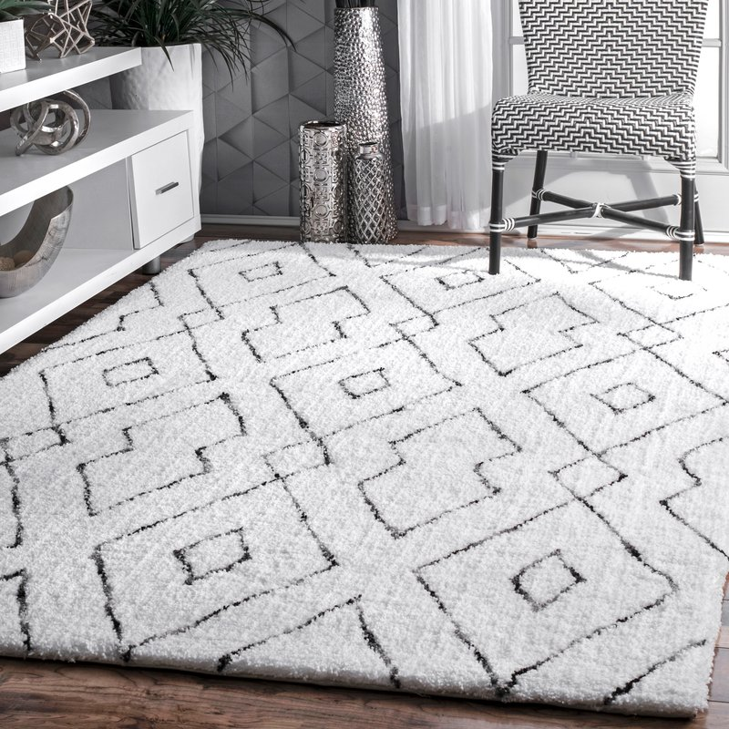 white rug peraza hand-tufted white area rug YDNWTOX