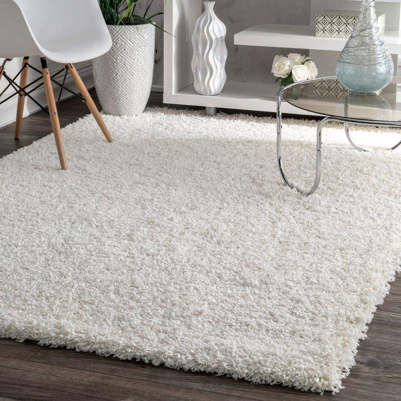 white rug welford white shag area rug UBLQAVG
