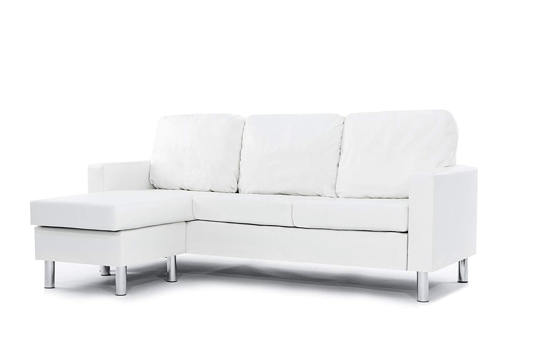 white sofa amazon.com: modern bonded leather sectional sofa - small space configurable UBBUDMZ