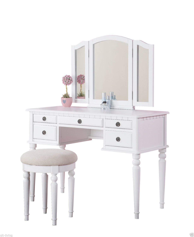 white vanity amazon.com: 1perfectchoice tri folding mirror vanity set makeup table  dresser OUUFVKF