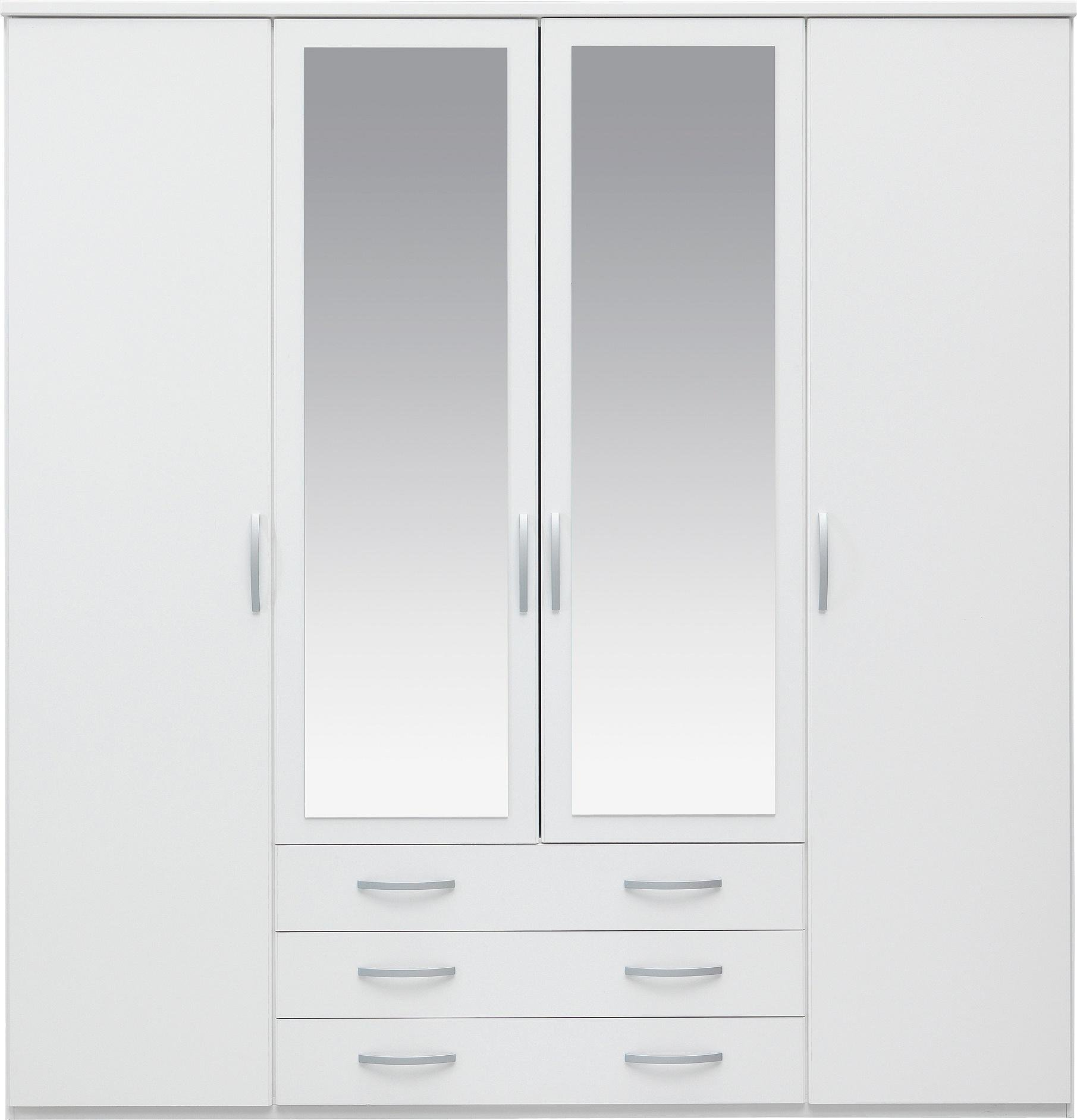 white wardrobes collection hallingford 4dr 3drw mirrored wardrobe - white PENKHPN