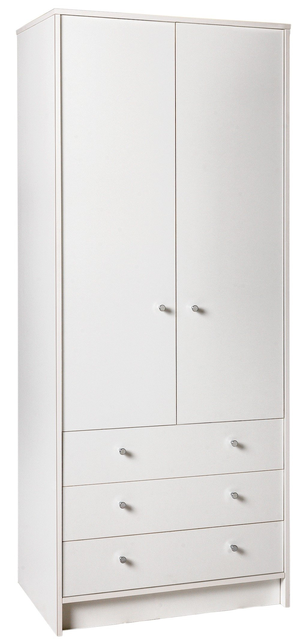 white wardrobes home malibu 2 door 3 drawer wardrobe - white XPPBFZH