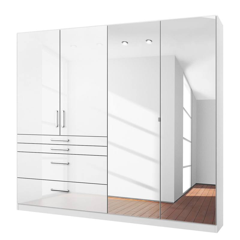 white wardrobes rauch homburg 4 door white gloss wardrobe mirrored LNHTZVE