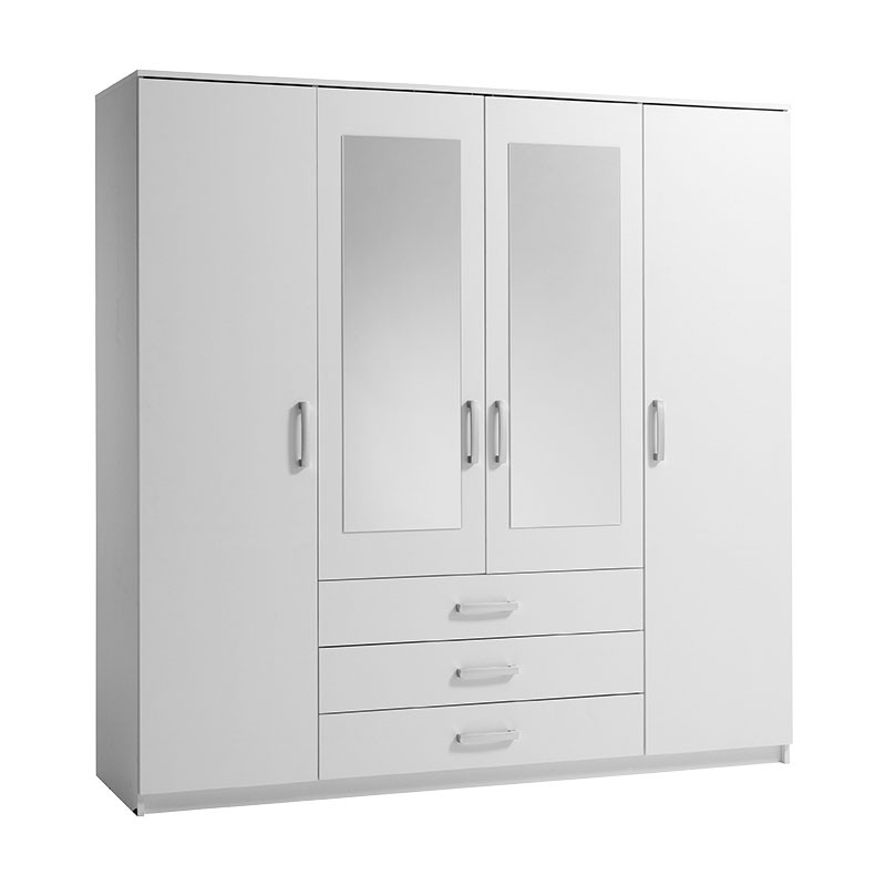 white wardrobes vinderup 4 door wardrobe (white) FILBOUM