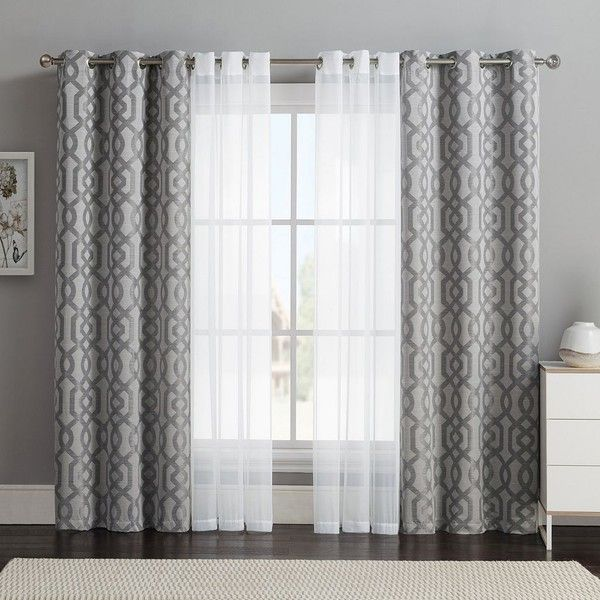 window curtain design vcny 4-pack barcelona double-layer curtain set, gray ($32) ❤ liked on SYDULLC