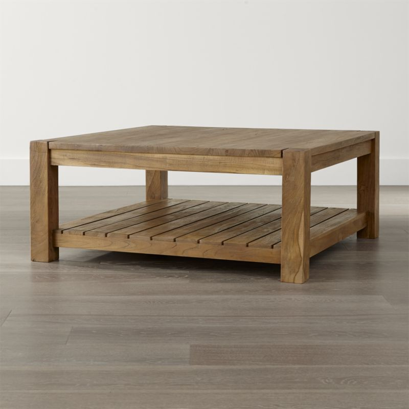 wood coffee table edgewood square coffee table + reviews | crate and barrel OSTLFAH