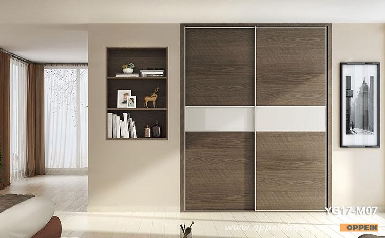 wood grain melamine sliding wardrobe yg17-m07 JWBDZDC