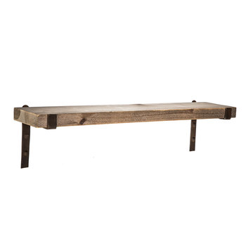 wood shelf rustic wood plank shelf KEUXRON