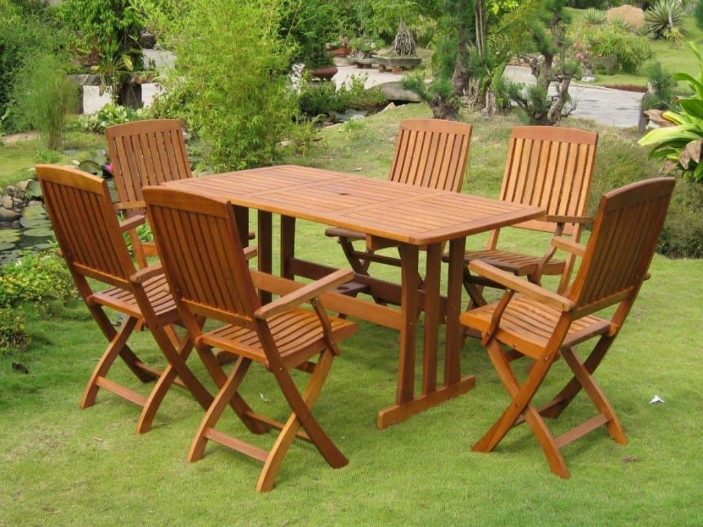 wooden patio furniture set : using teak oil for your furniture GASQZNN