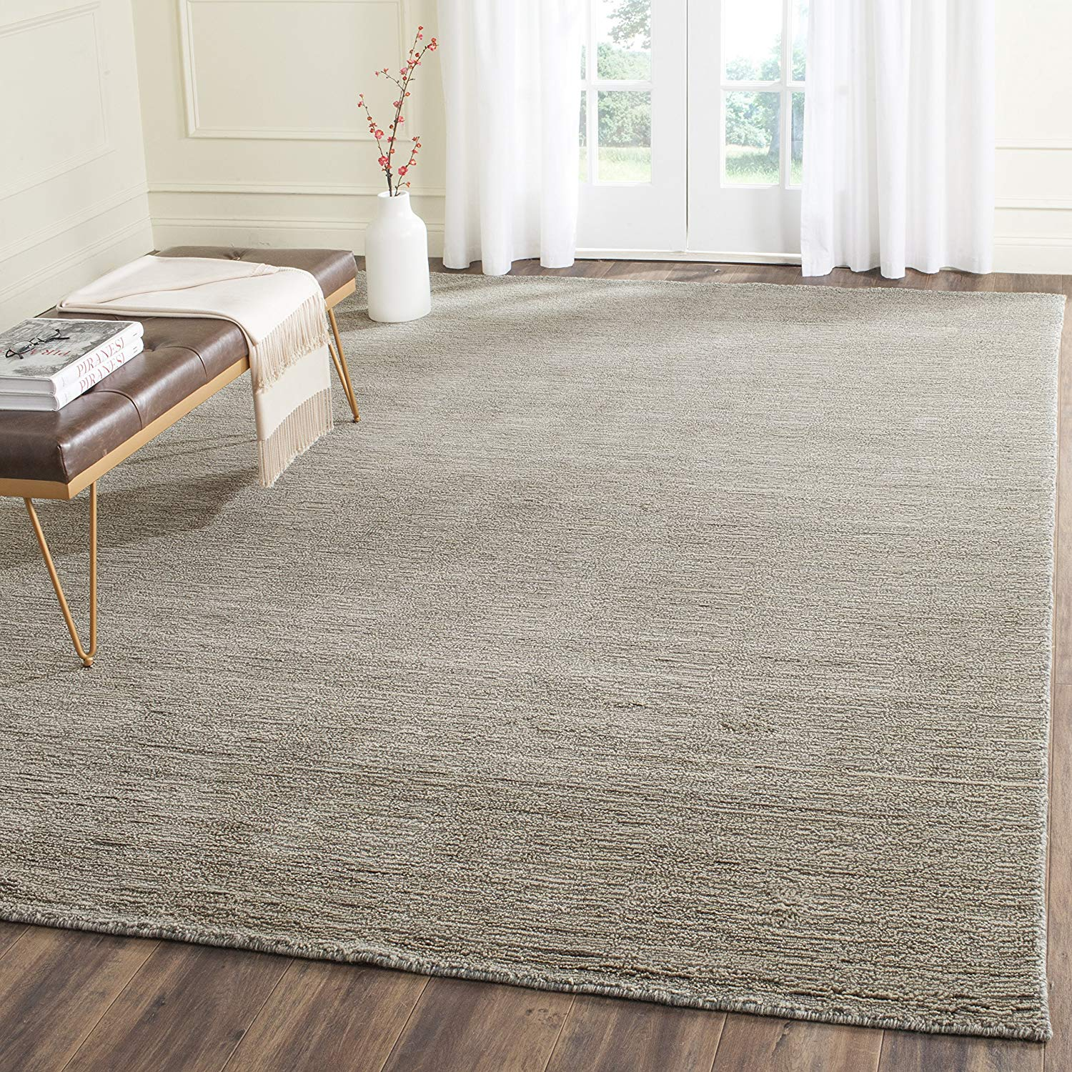 wool area rugs amazon.com: safavieh himalaya collection him311d handmade grey premium wool  area KEQQMRT
