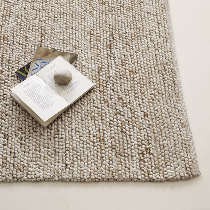 wool area rugs mini pebble wool jute rug - natural/ivory | west elm SNRCQVU