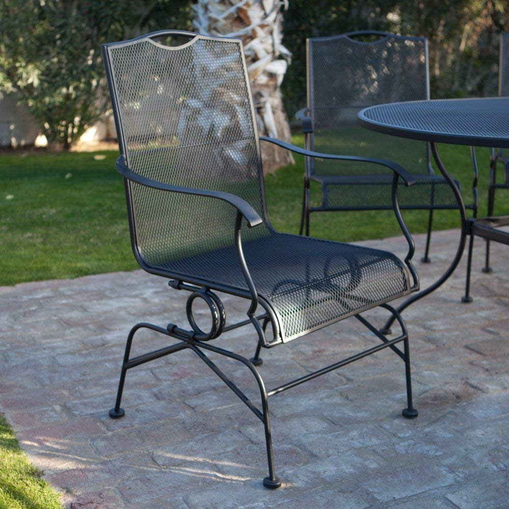 wrought iron patio furniture amazon.com : belham living stanton wrought iron coil spring dining chair CEYCJPW