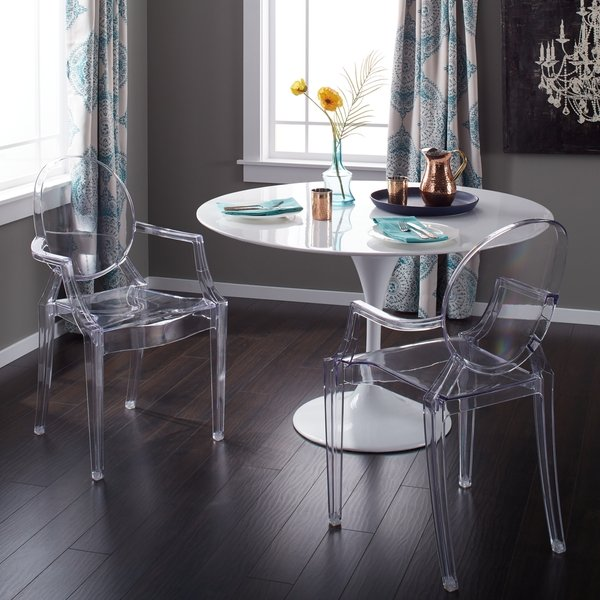 Shop Corvus Irene Modern Clear Acrylic Dining Chair with Armrests
