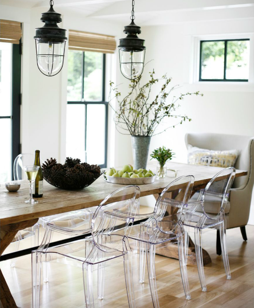 wood table + clear acrylic chairs | Casa | Dining room, Dining