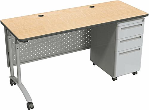 Adjustable Height Office Desk | 3 Locking Drawers