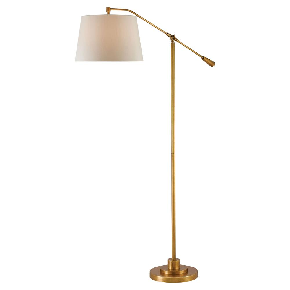 Karayan Modern Classic Antique Brass Swing Arm Floor Lamp | Kathy Kuo Home