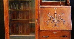antique secretary desk with hutch |  Burl Walnut Cylinder Roll