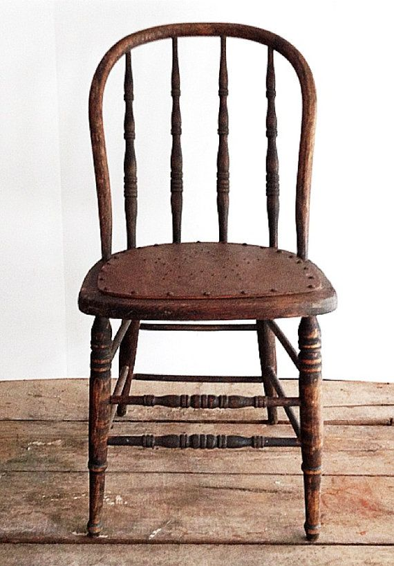 Primitive Antique Spindle Back Chair Urban by pippamarxstudio Antique  Wooden Chairs, Spindle Chair, Pottery