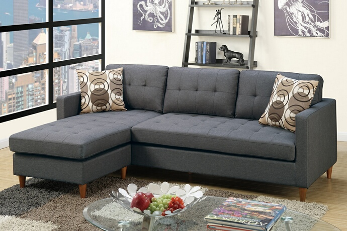 F7094 2 pc leta collection blue grey polyfiber fabric upholstered