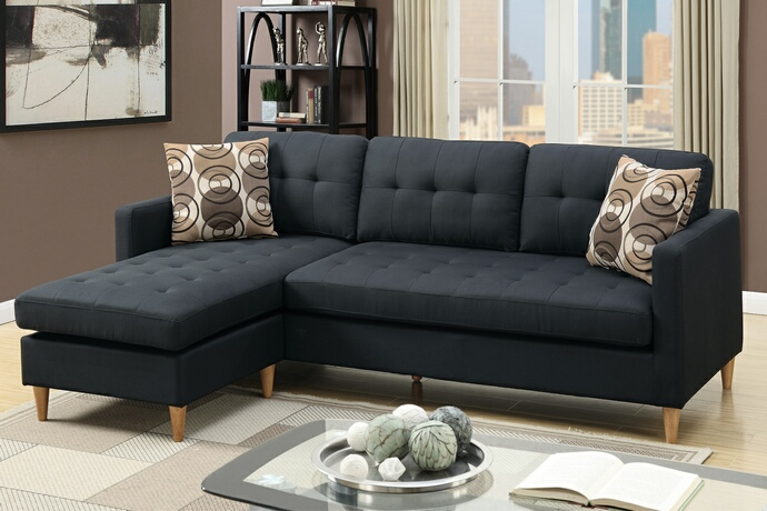 F7084 2 pc leta black polyfiber fabric upholstered apartment size
