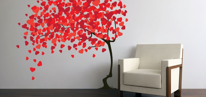 Wall Art Ideas Design : Blowing Hearts Shaped Wall Decoration Art