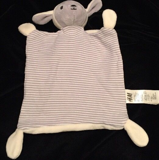 H&M Lamb Comforter Blanket Grey Cream White Sheep Soother Doudou