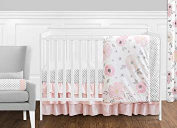 Traveller Location : Sweet Jojo Designs 11-Piece Blush Pink, Grey and White  Watercolor Floral Baby Girl Crib Bedding Set Without Bumper Rose Flower  Polka Dot : Baby