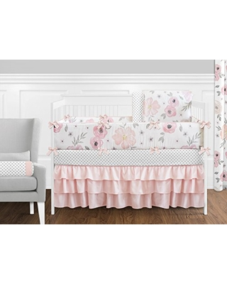 Winter Shopping Special: Sweet Jojo Designs 9-Piece Blush Pink, Grey and  White Shabby Chic Watercolor Floral Baby Girl Crib Bedding Set with Bumper  Rose