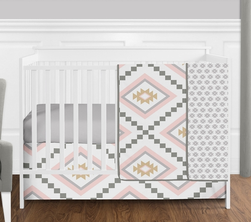 Blush Pink and Grey Boho and Tribal Aztec Baby Girl Crib Bedding Set