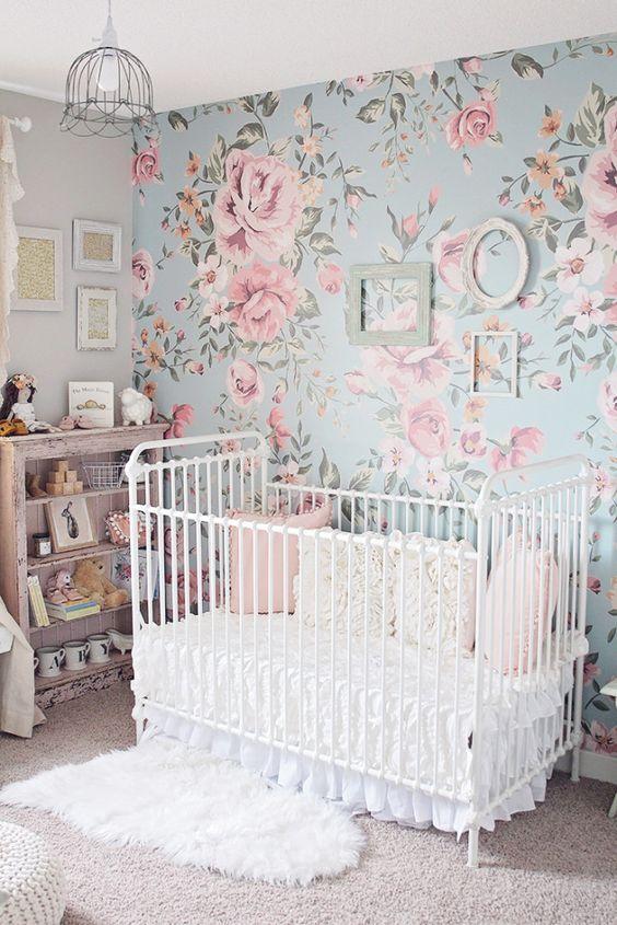 Flower Wallpaper for Baby Girl Nursery