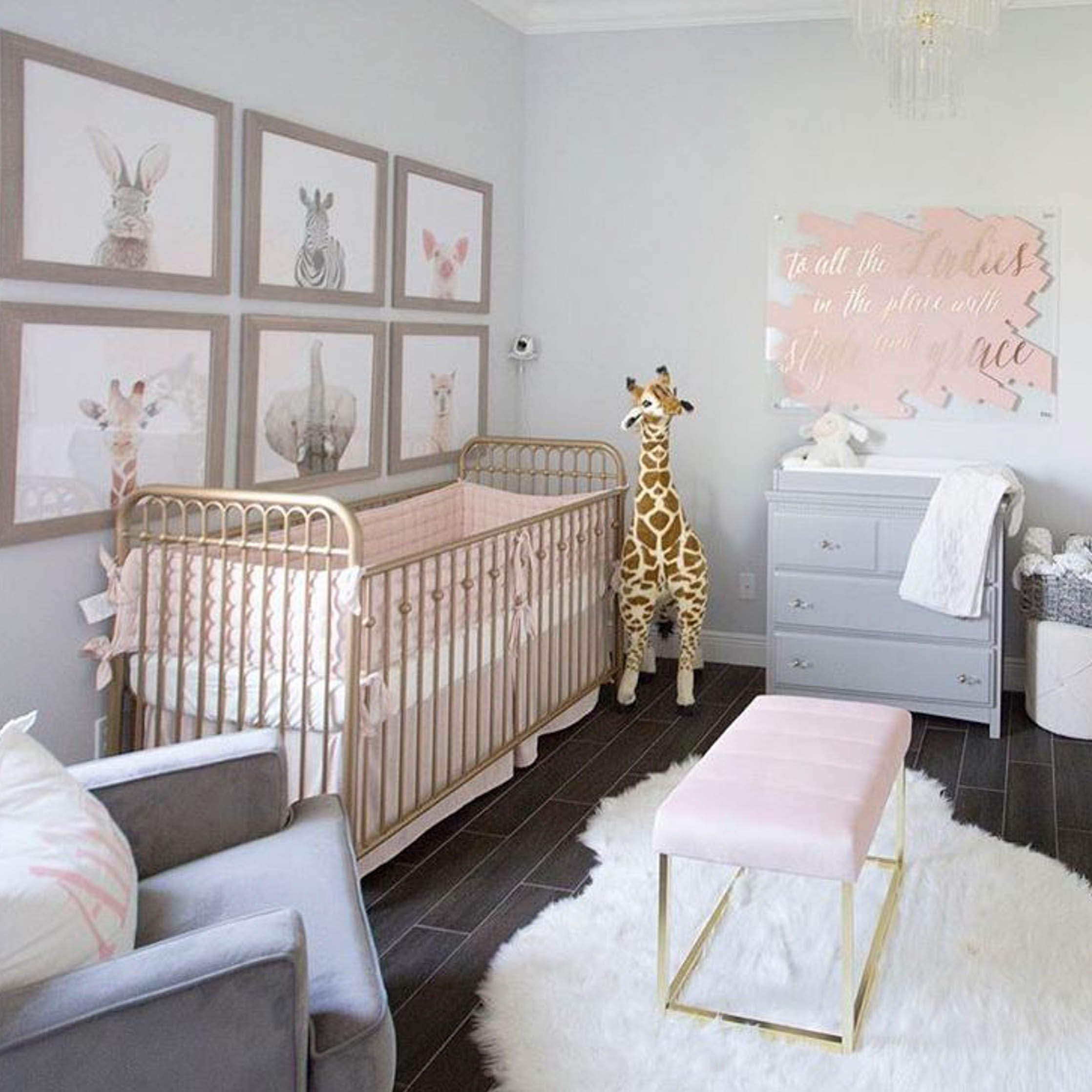 Pink, gold and gray baby girl nursery