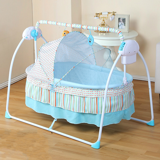 Baby Cradle Newborn Crib Bed Basket Small Shaker Electric Bouncer Swing  Automatic Rocking Chair Bed Basket with Power Adapter
